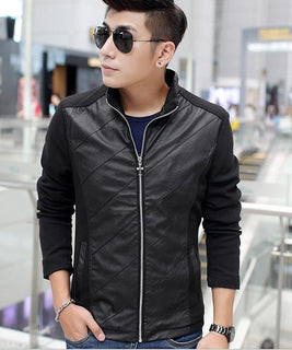 Spring new men's leather cowboy denim jacket Slim leather jacket male coat Men's Clothing Coats Jackets Leather Suede - Deals Blast