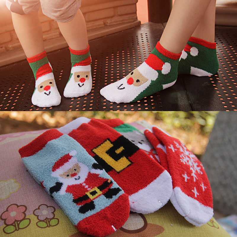1 Pair Cute Xmas Santa Claus Family Matching Socks Winter Warm Thick Baby Kids Men Women Christmas Socks Children Boy Girl Gifts Deals Blast
