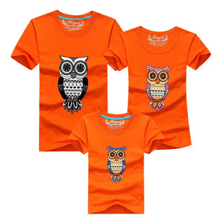 New 2016 Fashion Family Matching Outfits Cartoon Owl Style High quality Summer T shirts Casual Cotton Children Clothing Deals Blast