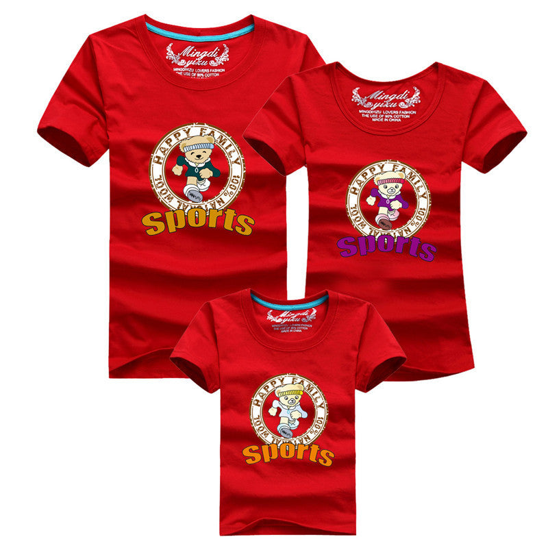 1pc Mother And Baby Matching Outfits 2016 Fashion Sport Cute Cartoon Mom Father Son T-shirts Family Look Girl Son Mother Clothes Deals Blast