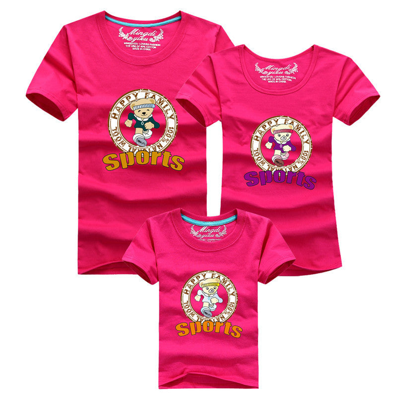 1pc Mother And Baby Matching Outfits 2016 Fashion Sport Cute Cartoon Mom Father Son T-shirts Family Look Girl Son Mother Clothes - Deals Blast