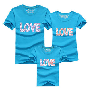 Ming Di New 2017 Summer Tees Family Look Cotton LOVE T Shirts Summer Family Matching Clothes Father Mother Kids Outfits Cotton Deals Blast