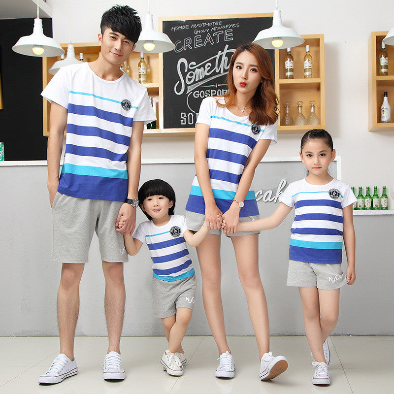 2016 Family fitted short sleeve t-shirts shorts matching mother daughter clothes Deals Blast