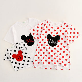 New Lovely Summer Style Girl Kids Children White T-shirts Polka Dot Clothes Family Matching Outfits mother&kids clothing Blouses Deals Blast