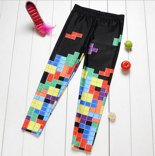 Mother and daughter clothes fashion Casual girls leggings family clothing pants Tetris print superstar family look trousers Deals Blast