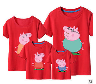 Pepe Pig & George Pig t shirts Family matching clothes summer Father Mother Kids Outfits family cotton short sleeve tee shirts Deals Blast