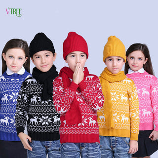 New Winter Children Boys Girls Sweater Knited Wool Kids Sweaters Teenage Baby Kids Outwear Warm Christmas Style Clothes 1-12Year - Deals Blast