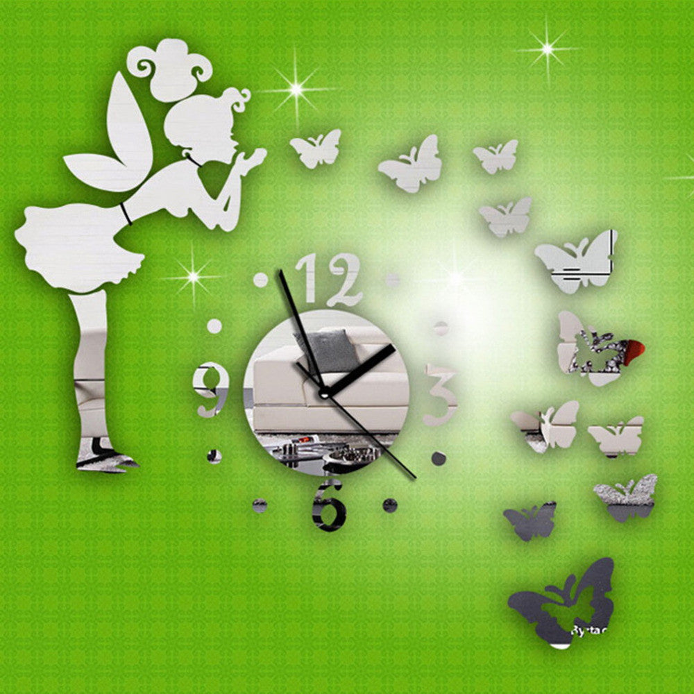 1pc Silver Creative Wall Clock DIY Modern Wall Sticker Fairy Butterfly Mirror Acrylic Home Decoration Safe and non-toxic - Deals Blast