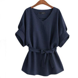 2016 Summer Plus Size XL- 5XL Women Linen Tunic Shirt V Neck Big Bow Batwing Tie Loose Ladies Blouse European Female Tops - Deals Blast
