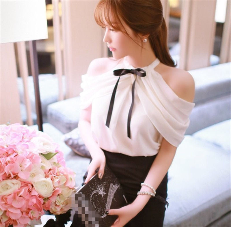 1pc Sweet Lady White Chiffon Shirts Tops Blouse Bowknot Off Shoulder - Deals Blast