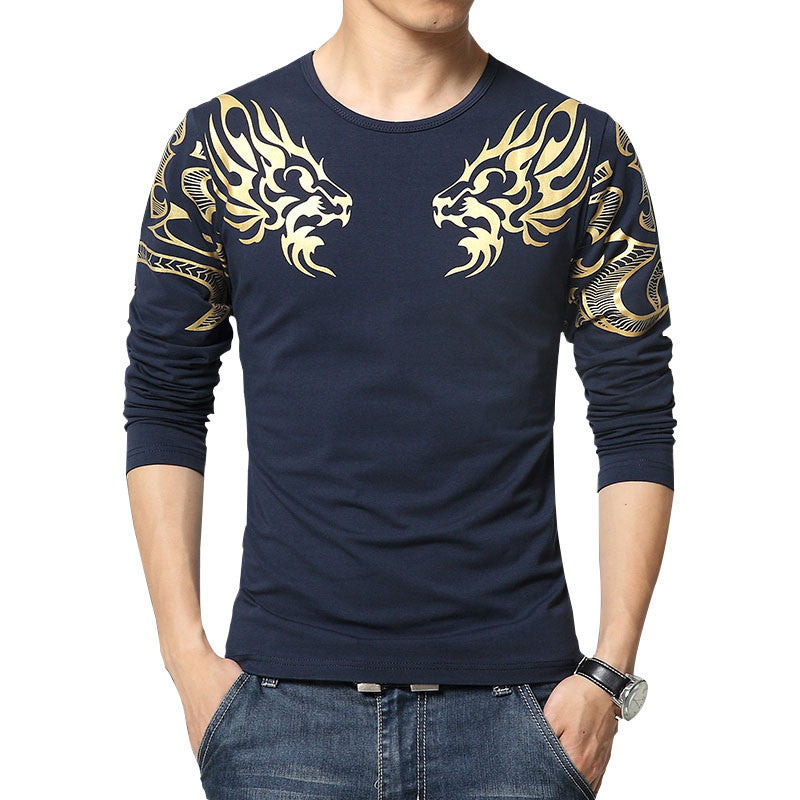 Deals Blast: Best Seller Autumn new high-end men's brand t-shirt fashion Slim Dragon printing atmosphere t shirt Plus size long-sleeved t shirt men - Deals Blast