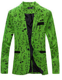 9 color M-XXL men blazer slim fit cotton and linen flower style: Deals Blast