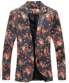 9 color M-XXL men blazer slim fit cotton and linen flower style Deals Blast