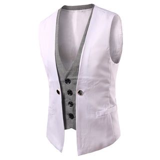 Men's Casual Suit Sleeveless Fake 2 Pieces Leisure V-neck Blazers Vests Male Plus Size Deals Blast