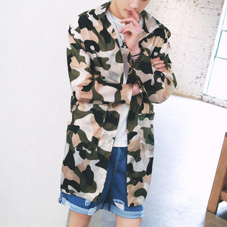 Thin long trench coat men women camouflage fashion: Deals Blast