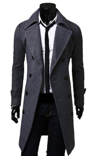 Men's Lapels Thicken Trench Coat Double Breasted Long Jacket Windbreaker - Deals Blast