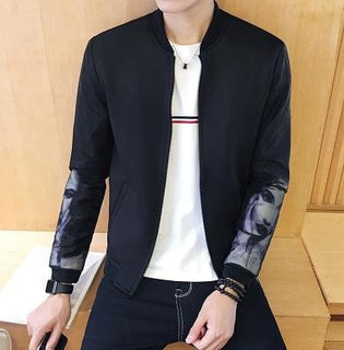 2016 New Arrival Spring Autumn Fashion Men's Casual Loose Long Sleeved Single Breasted Printed Man/Woman Head White/Black Jacket Deals Blast