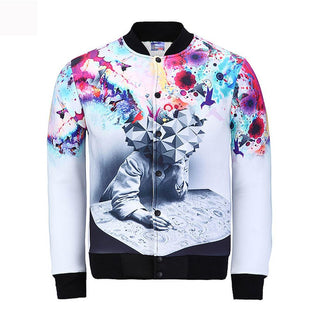 Brand fashion 3D printed Jacket Men Sweatshirt College Sportswear Jackets Casual Slim Fit Jacket Mens Clothing: Deals Blast