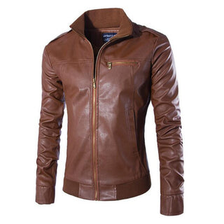 2017 New PU Leather Jacket Slim Jaqueta De Couro Masculina Stand Collar Mens Jackets And Coats Outwear Motorcycle Jacket Deals Blast