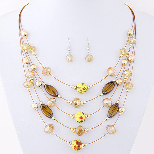 Deals Blast: Multilayer Bohemia Bead Choker Crystal Statement Necklace conjuntos joyas Pendants Jewelry Set For Women collares jewellery set Deals Blast