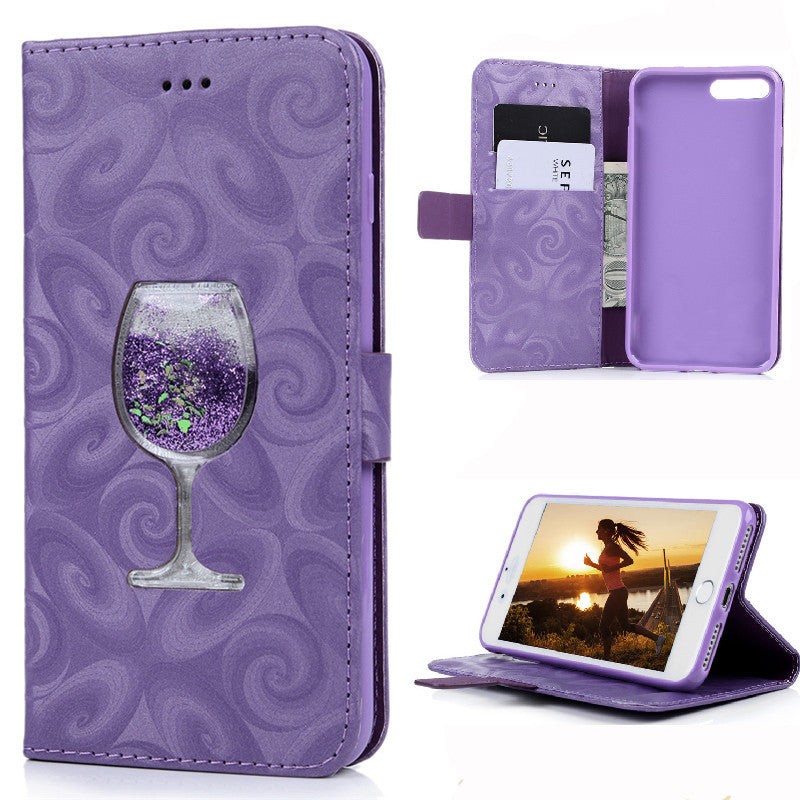 3D Wine Glass Liquid Quicksand Glitter Flip Leather Case For iPhone 5 5S SE 6 6S 7 Plus Stand Wallet Phone Cover Bag Card Slot - Deals Blast