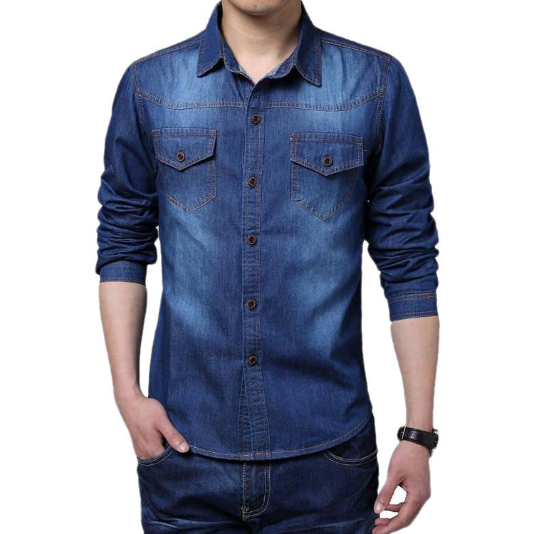 2016 High Quality Long Sleeve Denim Shirts Men Casual Shirt Fashion Slim Mens Jeans Shirts Plus Size 2XL Deals Blast