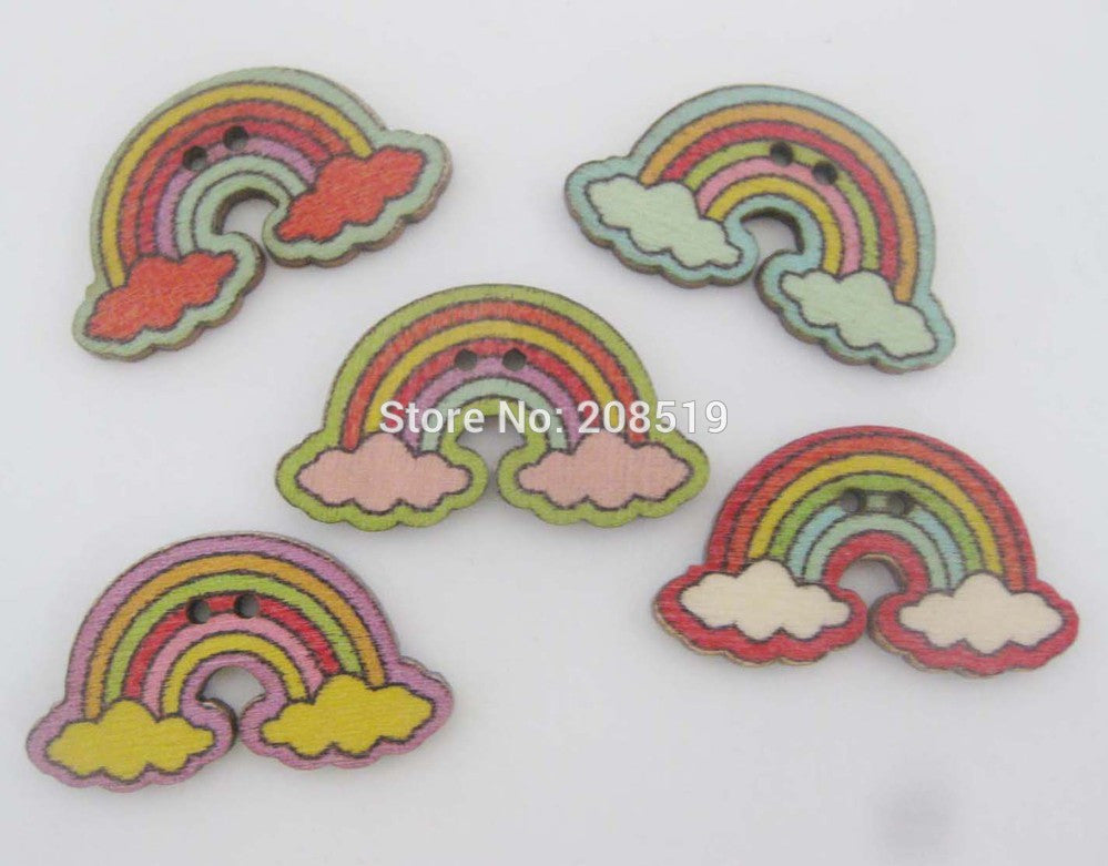 150PCS Rainbow Painting buttons for crafts nature wood sewing accessories children arts - Deals Blast