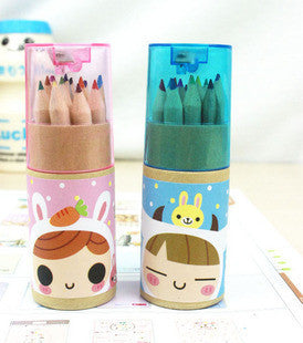 12 color pencil with sharpener Korea stationery Deals Blast