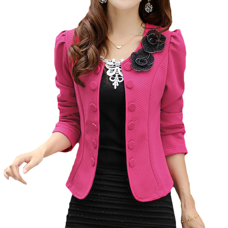 2017 Double Breasted Floral Blazer Women Suits Elegant Suit Jacket Casual Blaser Plus Size M-3XL Cape Blazer Mujer  Black/Pink - Deals Blast