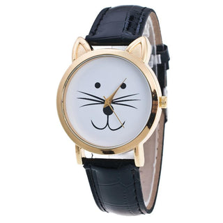 Top Brand Cat Face Pattern Watch Women Fashion Leather Analog Quartz Watches Mens Stylish Wrist Watch Sports Clock Relogio Deals Blast
