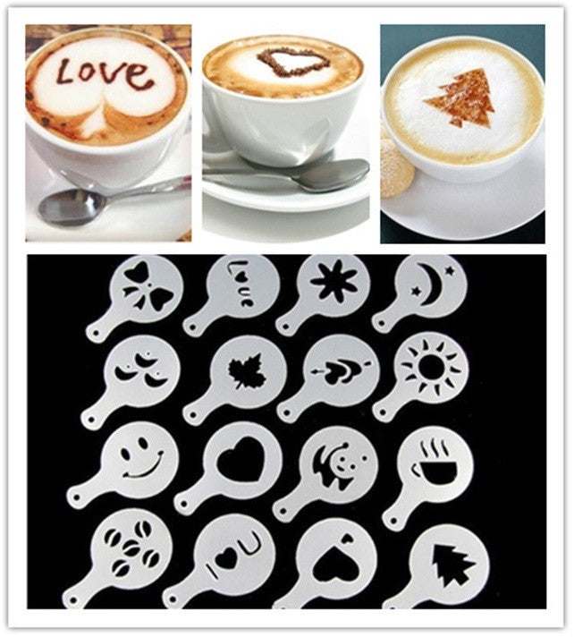 16Pcs Fashion Cappuccino Coffee Barista Stencils Template Strew Flowers Pad Duster Spray Deals Blast