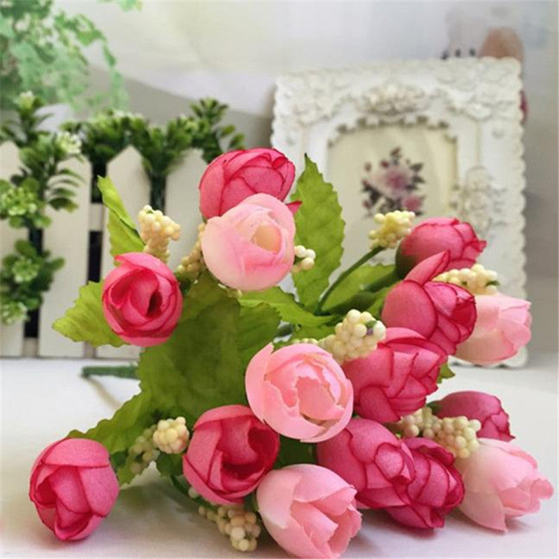 15 Heads Unusual Artificial Rose Silk Fake Flower Leaf Home Decor Bridal Bouquet Deals Blast