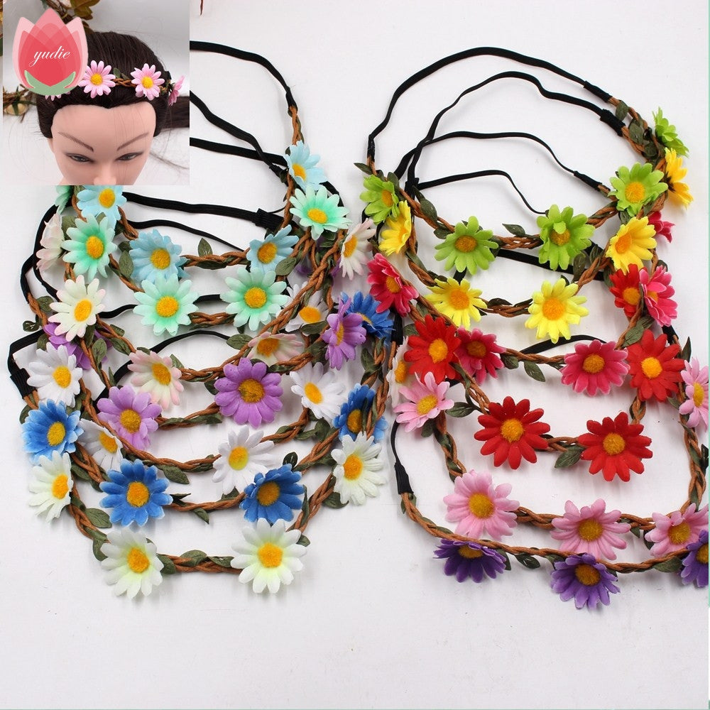 1pcs Silk Artificial Daisy Flower Wreath Crown Wedding Headband Mariage Flores Bride Garland Women Hair Accessories Hairbands Deals Blast