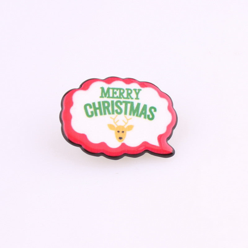1PCS Acrylic Patches Cabochon Christmas  Badges Jewelery Snowflake Clothing Badge Corsage Collars Brooches For Child - Deals Blast