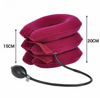 High quality Fully velvet Cervical Neck Traction Collar Portable Inflatable Device Rose Red Deals Blast