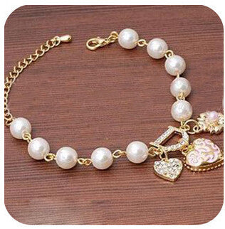 2015 New Fashion Fashion Jewelry Bohenmia Heart&D with Floral imitation Pearl Love Heart Bracelets Bangles  B38 - Deals Blast