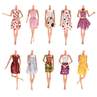 10PCS Mixed Styles Handmade for Barbie Dress Fashion Mini Doll Dress for Barbie Dolls Party Slim Dress Clothing Accessories Deals Blast