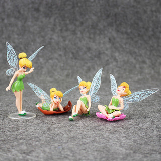 4Pcs/Set Tinkerbell FAIRY PVC Action Figures Tinker Bell Fairies Model Dolls Toys 3.5~9.5cm: Deals Blast