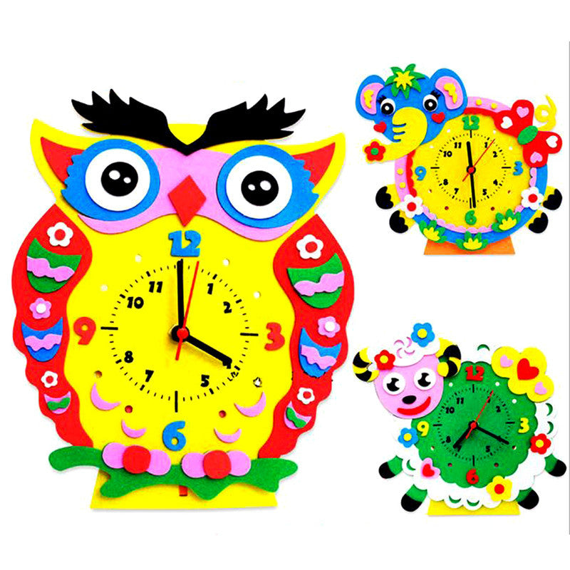 1Set Handmade Clock Toy DIY 3D Animal Learning Clock Kids Crafts Educational Handwork Toy Creative Ability Training - Deals Blast