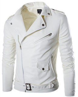 Fashion stand collar motorcycle leather clothing men's leather jacket male outerwear White Leather & Suede M-XXL Deals Blast