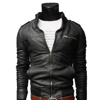 New Arrival PU Leather Jacket Men Long Standing Collar Solid Color Jackets Overcoat Men Leather Jackets Male Clothing Deals Blast