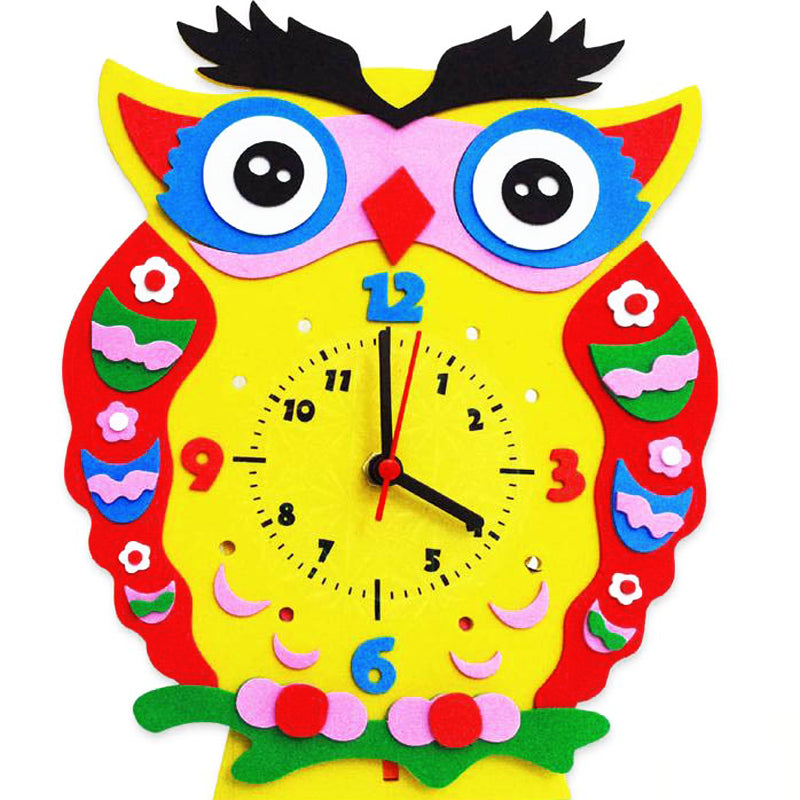1 Set 3D DIY Creative Handmade EVA Cartoon Animals Clock Puzzle Arts Crafts Kits Baby Kids Early Learning Birthday Gifts Toys - Deals Blast