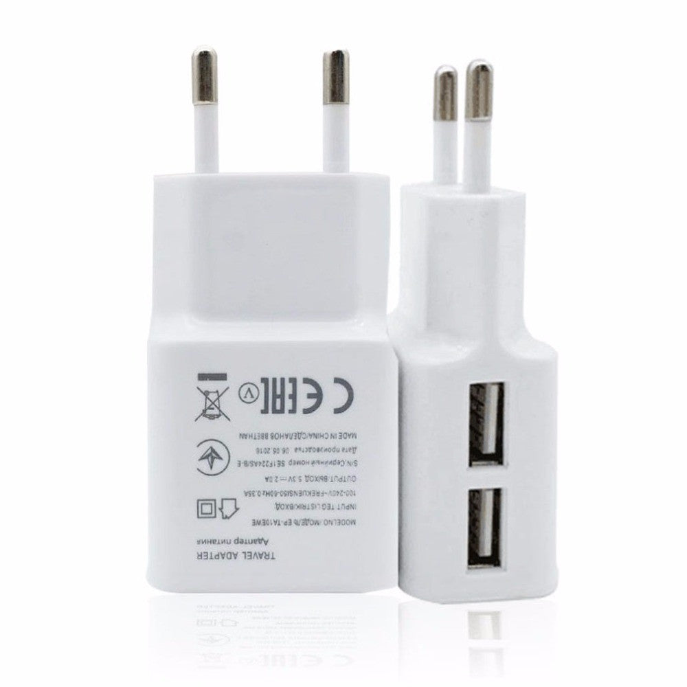 1pcs Portable Size Double USB Port Wall Charger Adapter With Light 5V 2A Travel Power Supply For Iphone For Samsung White Deals Blast