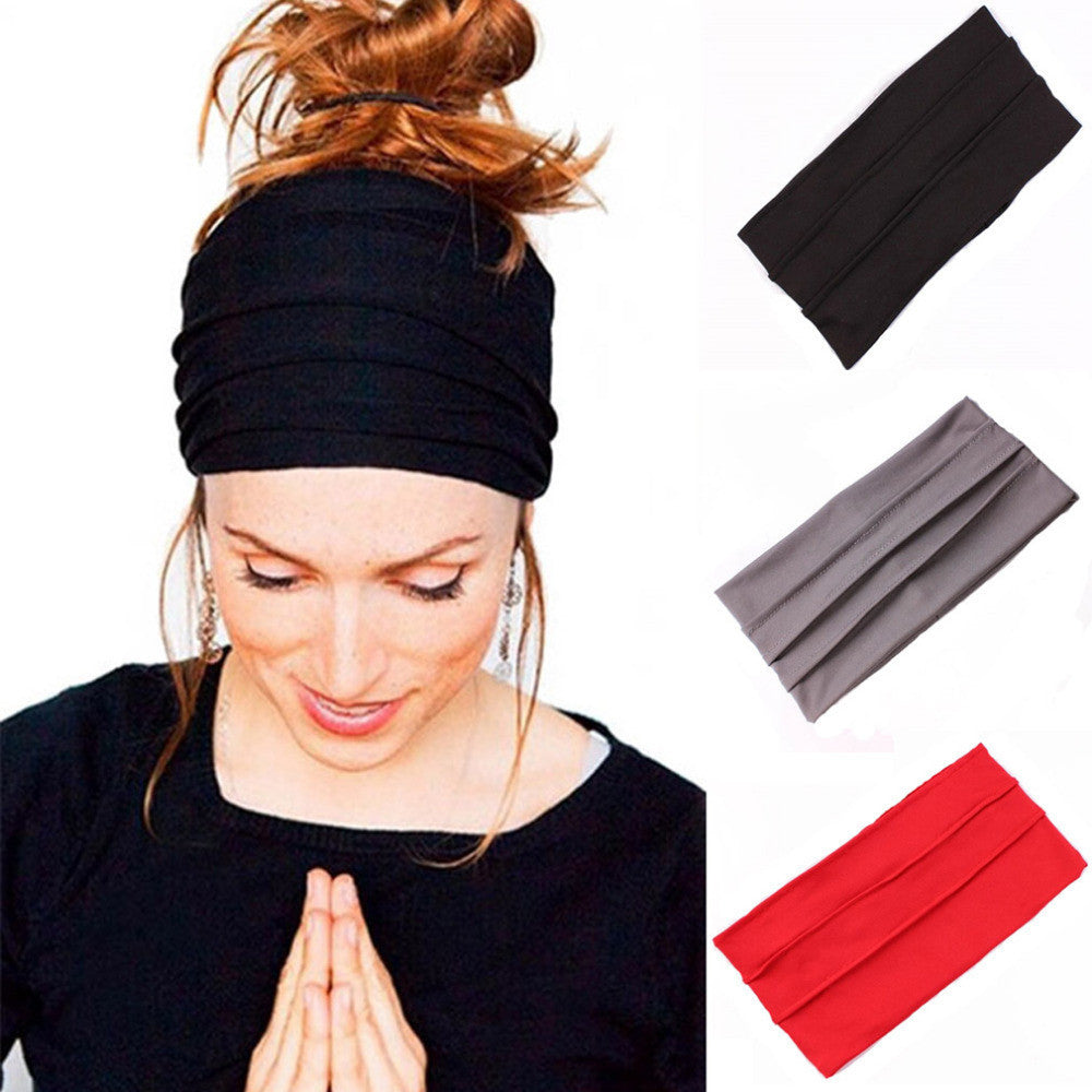 1 PC Women Hair Accessories Wide Sports Yoga Headband Stretch Hairband Elastic Hair Band Turban Running Dance Biker Headwrap - Deals Blast