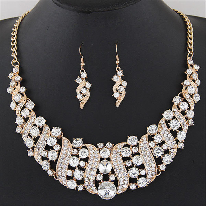 1 Set Women's Girl Crystal Gold Plated Chain Necklace Choker Statement Dangle Drop Earrings Jewelry Set collier Party - Deals Blast