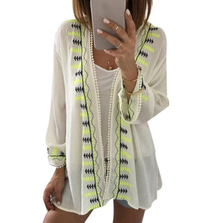Embroidery Chiffon Women Blouse fashion Kimono Cardigan Summer Ladies Tops Loose Shawl Tops Cover up Blouse - Deals Blast