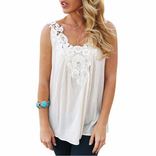 Women Blouses Chiffon White Lace Blouse For Ladies Vest Fashion Stitching Sling Girls Clothes Long Blouse