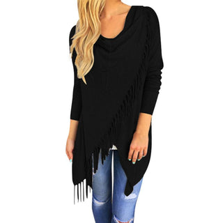 Women Tassel Slash Blouse Fashion Long Sleeve Tops lady