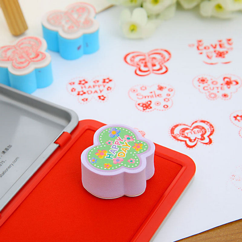 2 pcs/set butterfly rubber stamp for Kids DIY Handmade Scrapbook Photo Album Stamps Arts,Crafts Children's toys gifts Deals Blast
