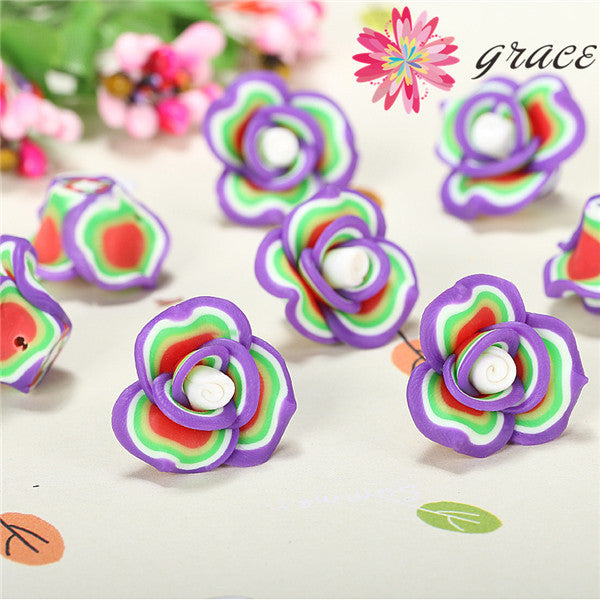 15pcs/lots 15mm/20mm Kawaii Colorful Polymer Clay Unique Flower Rose Loose Beads Diy Necklace Bracelet Kids Arts Crafts Supplies Deals Blast